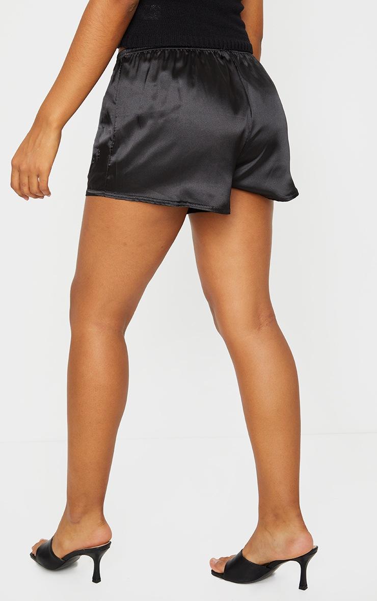 Black Runner Satin Shorts 3