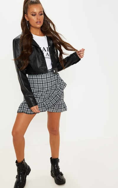 3ead4f5eae Check Printed Frill Hem Wrap Mini Skirt