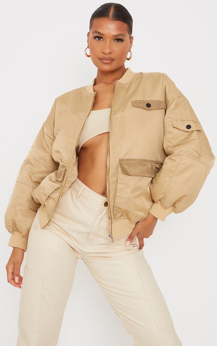 Stone Contrast Pocket Padded Nylon Jacket 1