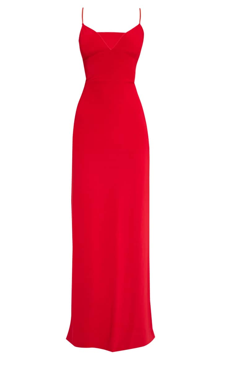 Irinah Red Slinky Strappy Plunge Maxi Dress 3