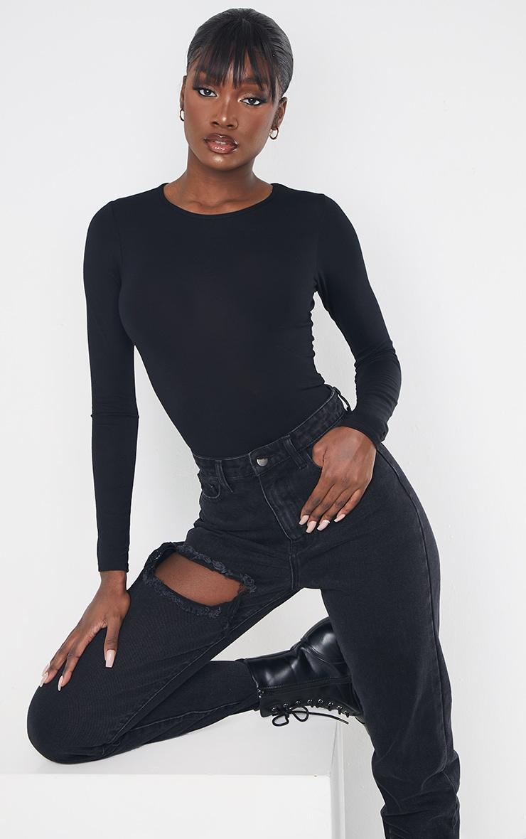 Tall Black Basic Crew Neck Long Sleeve Bodysuit 1