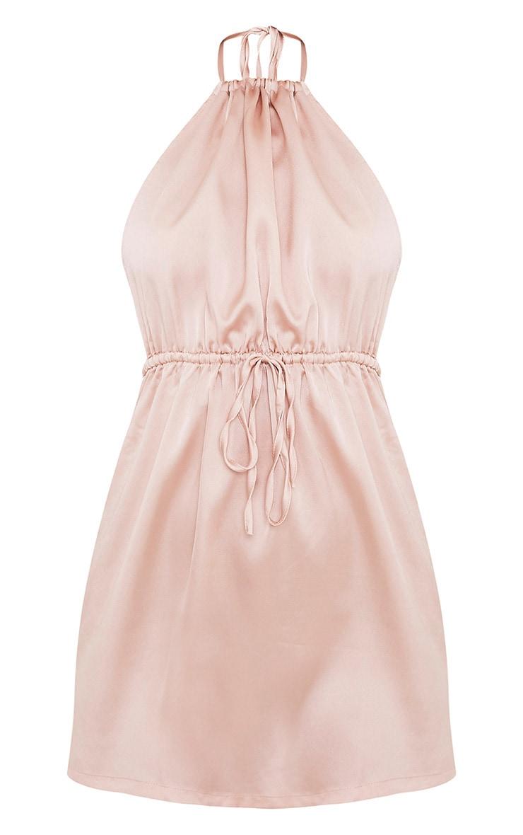 Raiane Champagne Silky Halterneck Shift Dress 3