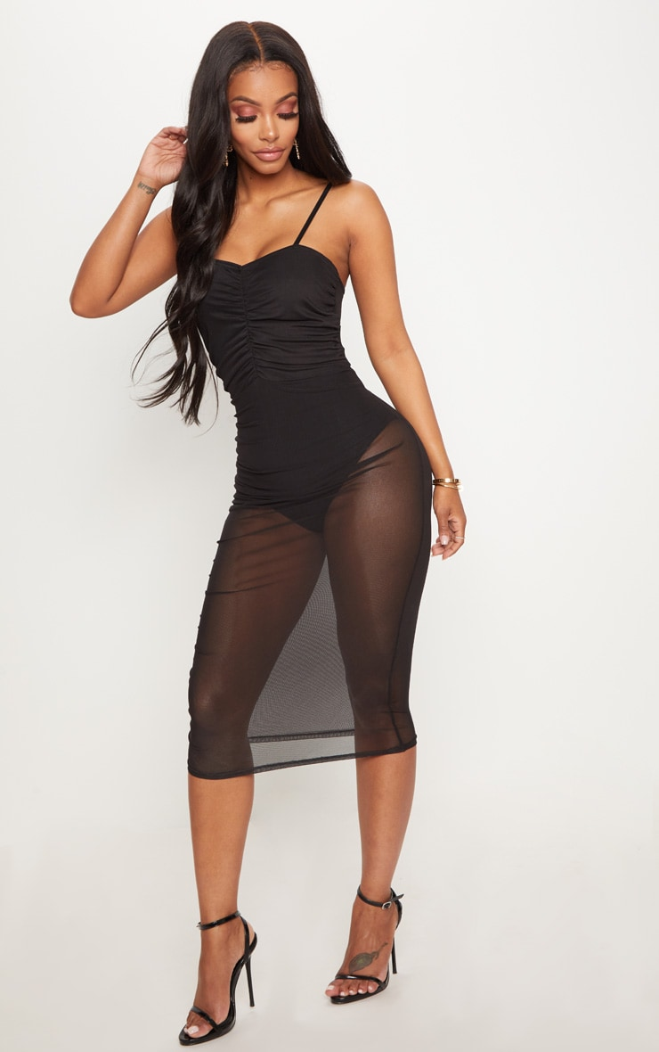 Shape Black Mesh Ruched Strappy Midi Dress 3