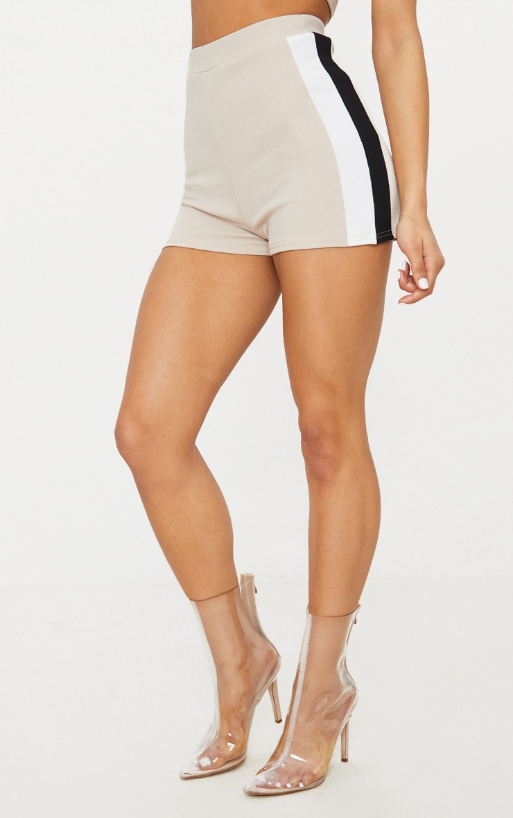 Stone Crepe High Waisted Side Stripe Short 2