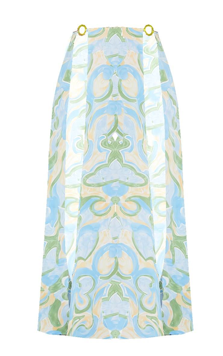 Multi Abstract Print Trim Split Maxi Beach Skirt 5