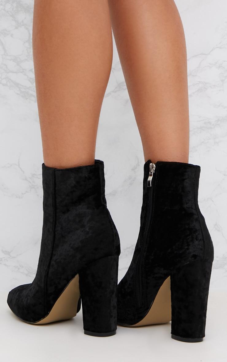 Black Crushed Velvet Ankle Boots 4