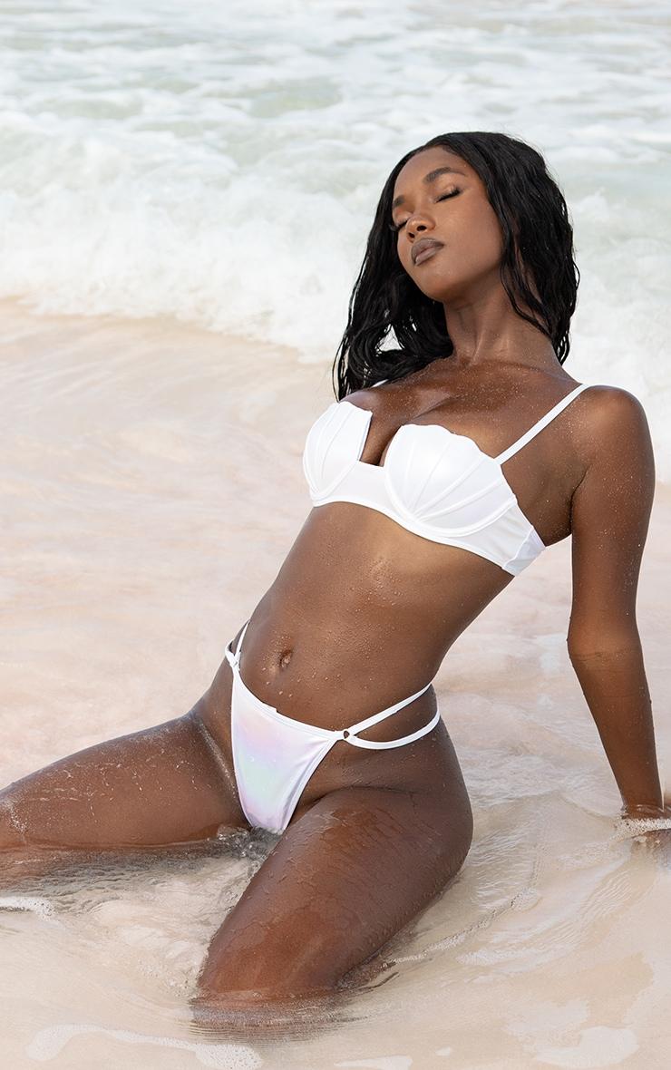 White Pearlescent G String Bikini Bottoms image 1