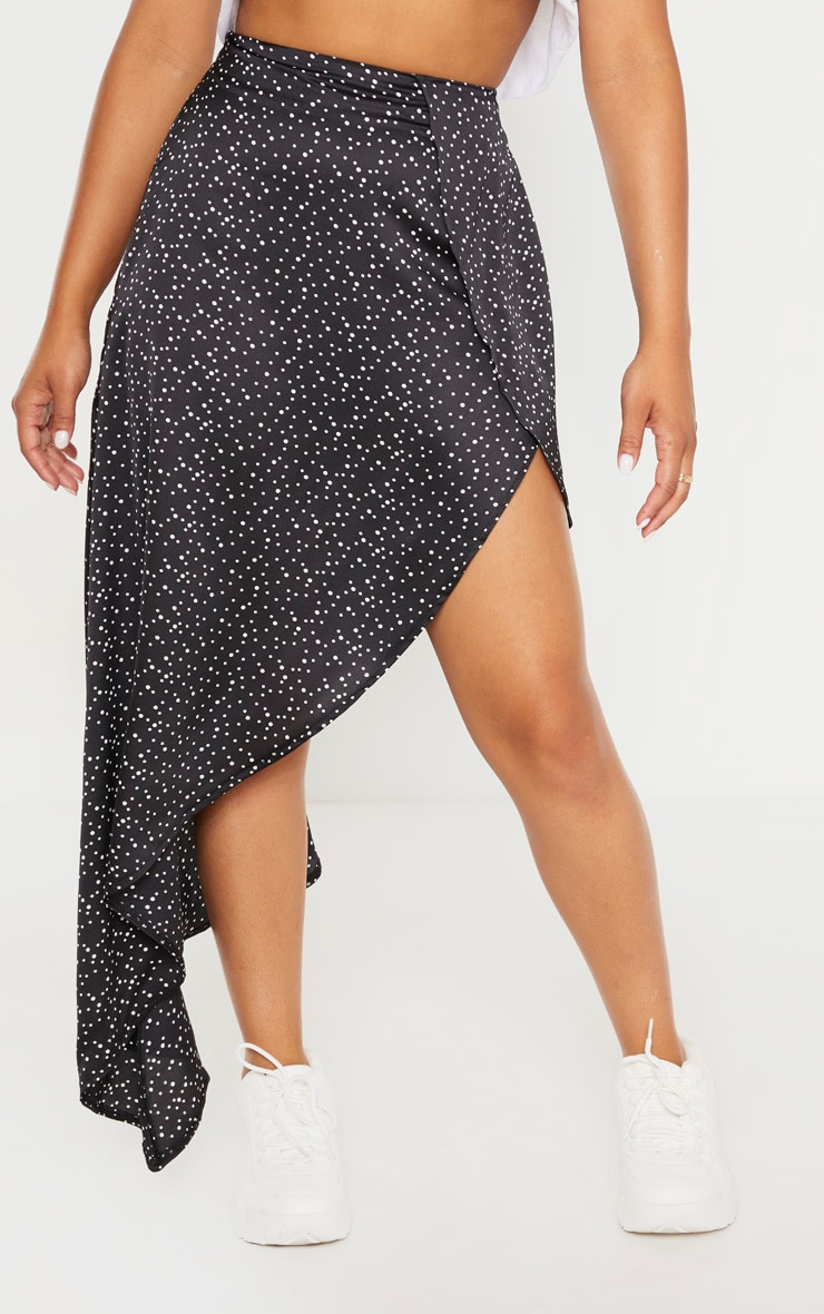 Petite Black Polka Dot Satin Asymmetric Skirt 2