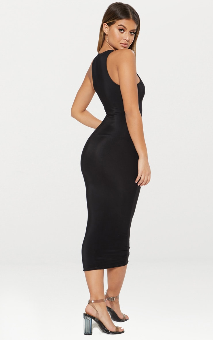 Black Second Skin Double Layered Slinky Racer Neck Midaxi Dress 2