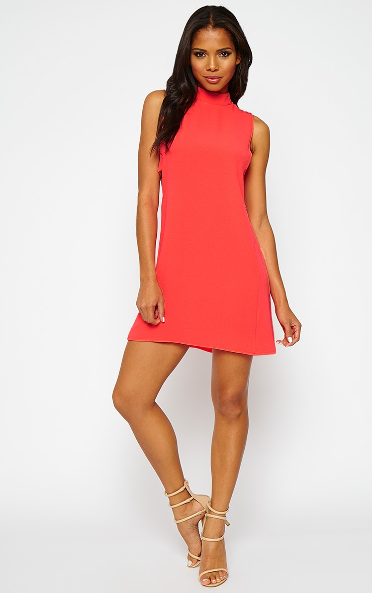 Rina Neon Pink Cut Out Tabard Dress 3