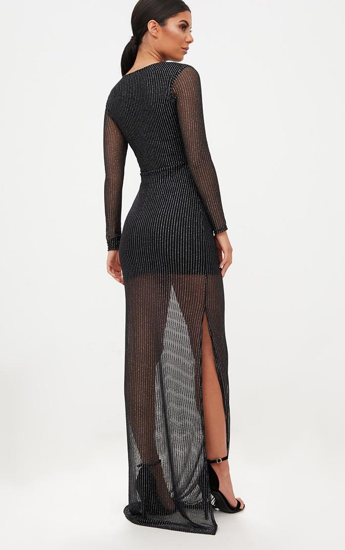 Black Metallic Stripe Cut Out Detail Maxi Dress 2
