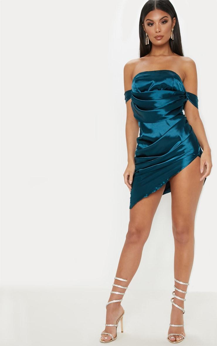 Teal Satin Bardot Drape Bodycon Dress 4