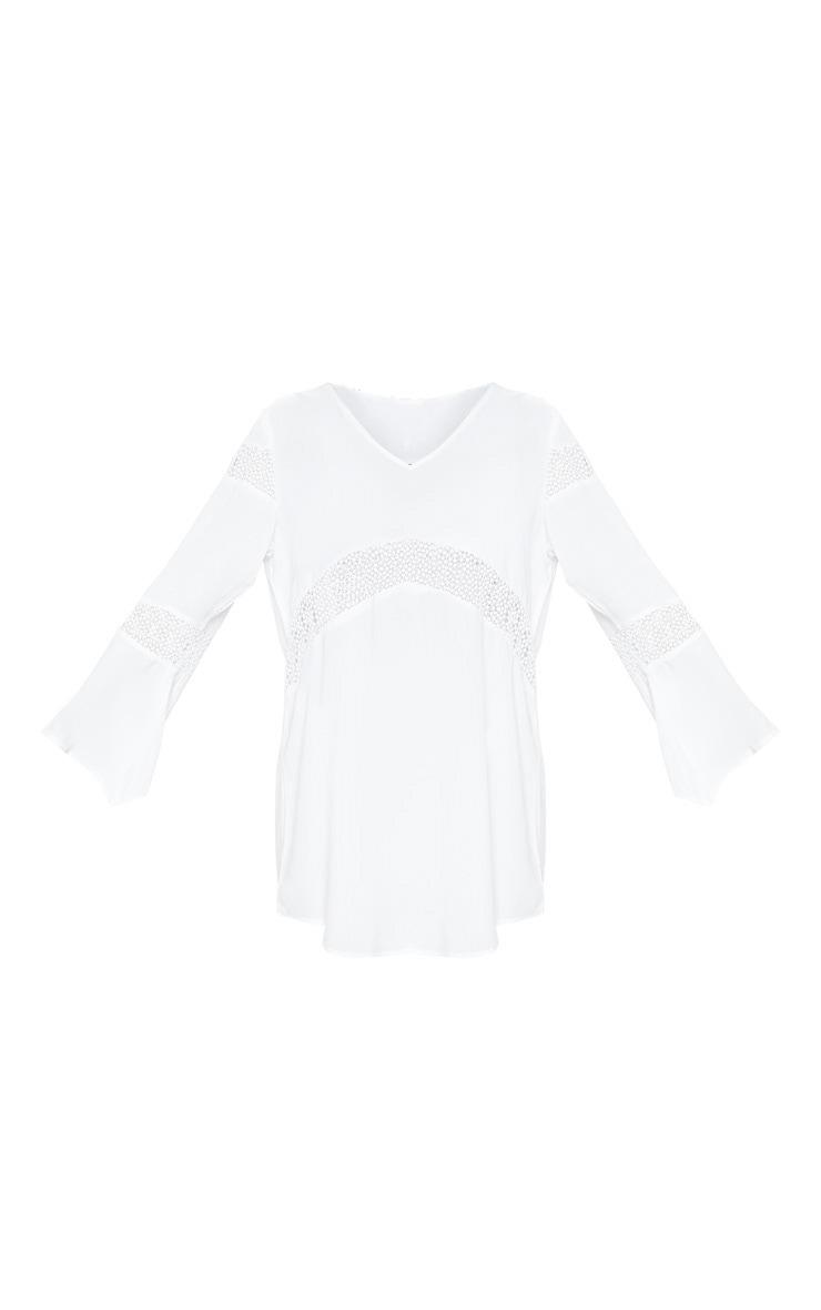 White Oversized Crochet Trim Beach Tunic 3
