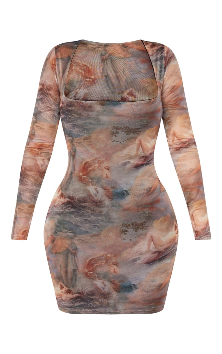 Shape Nude Renaissance Print Mesh Square Neck Bodycon Dress 3