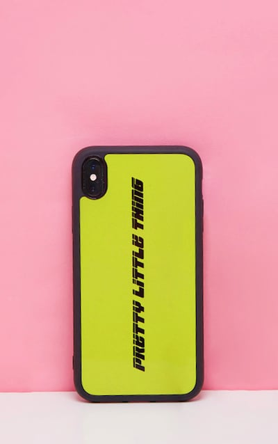 PRETTYLITTLETHING Neon Lime Logo XR iPhone Case