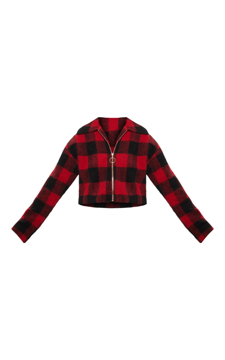 Red Cropped Checked Borg Jacket  3