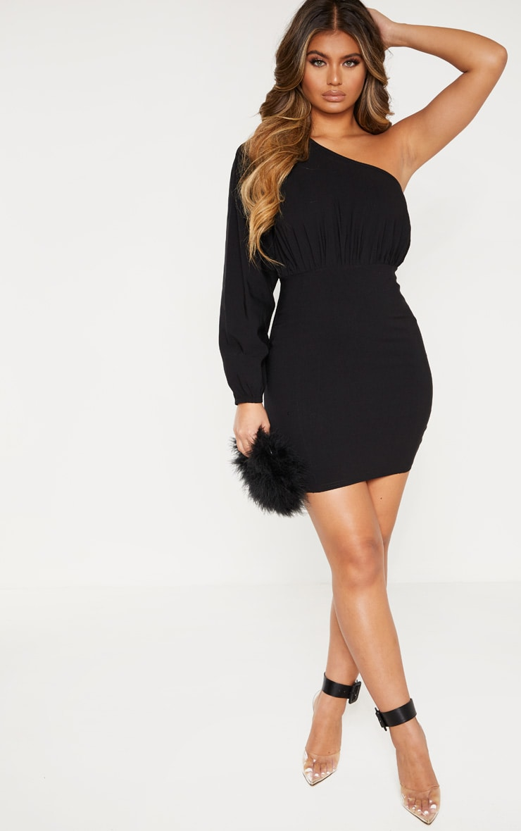 Black Woven One Shoulder Puff Sleeve Bodycon Dress 4