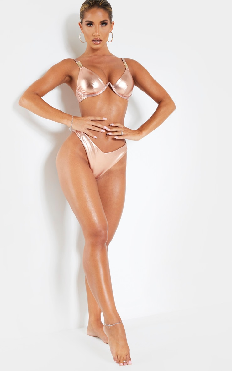 Rose Gold V Underwire Chain Strap Detail Bikini Top 1