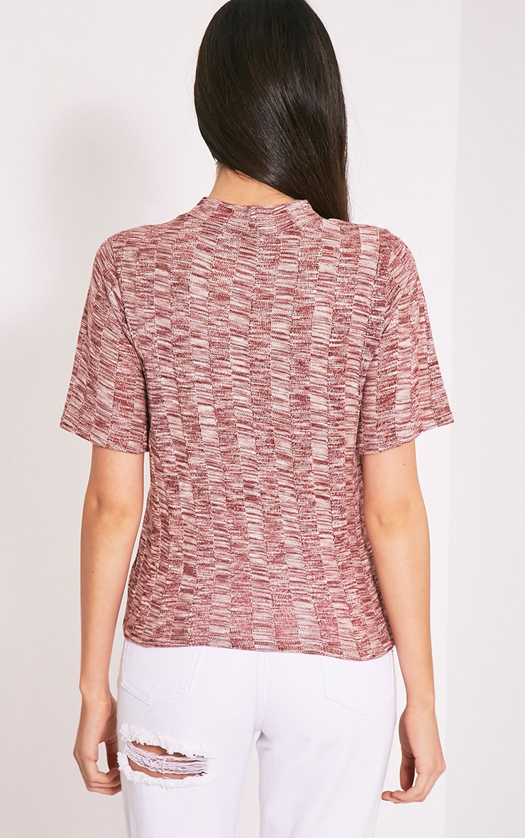 Laylae Red Fine Knit Short Sleeve Top 4