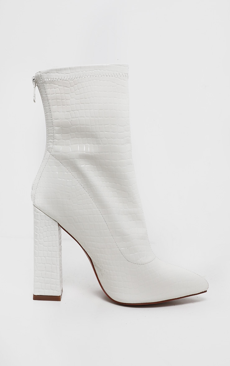 White Croc Block Heel Point Boot 3