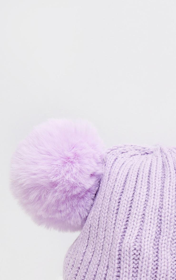 Lilac Rib Knit Double Pom Pom Beanie Hat 3