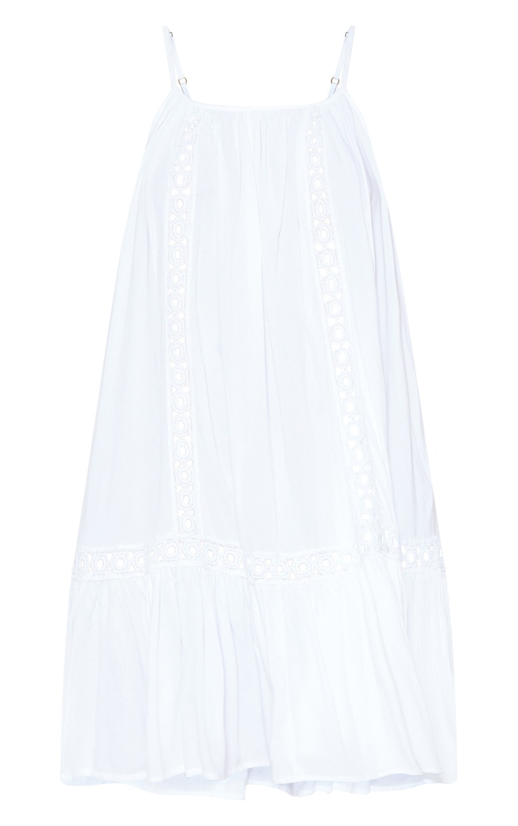 White Crochet Trim Frill Hem Beach Dress 3