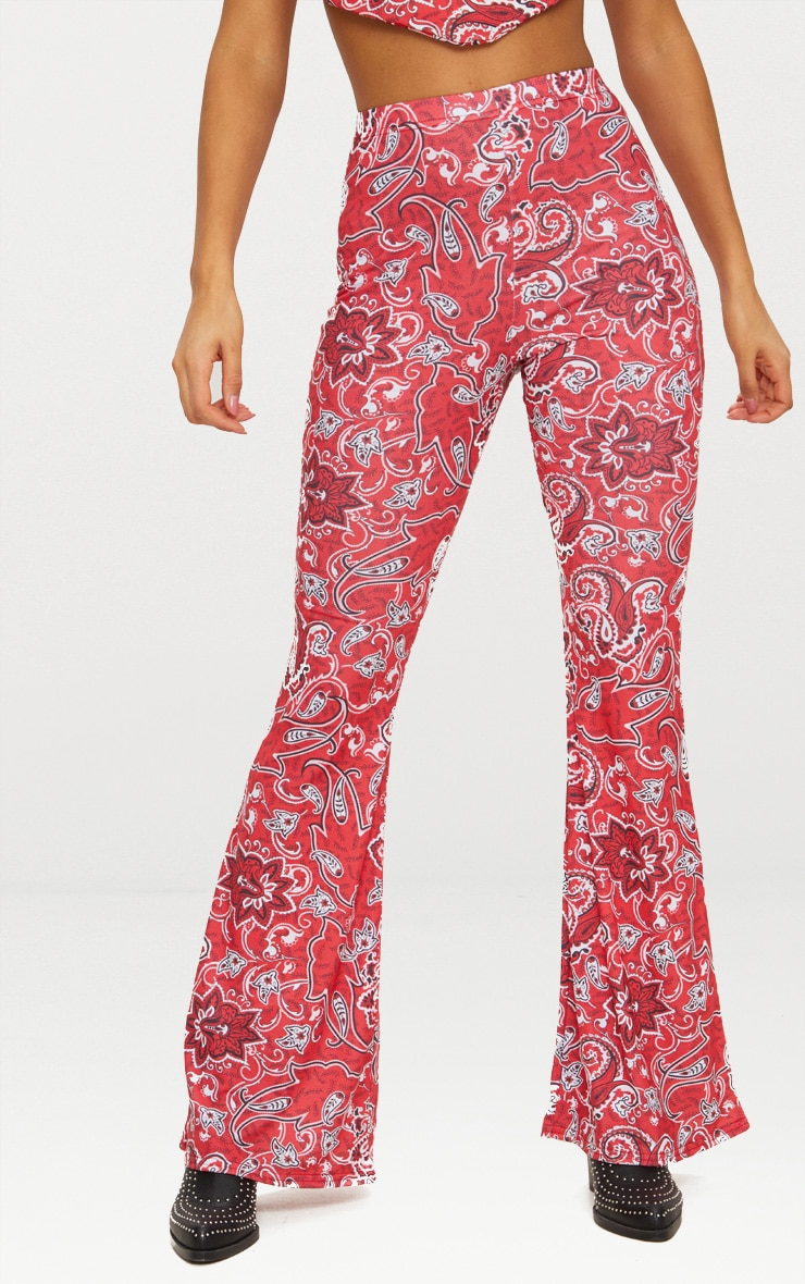 Red Paisley Printed Jersey Flare Trouser 2