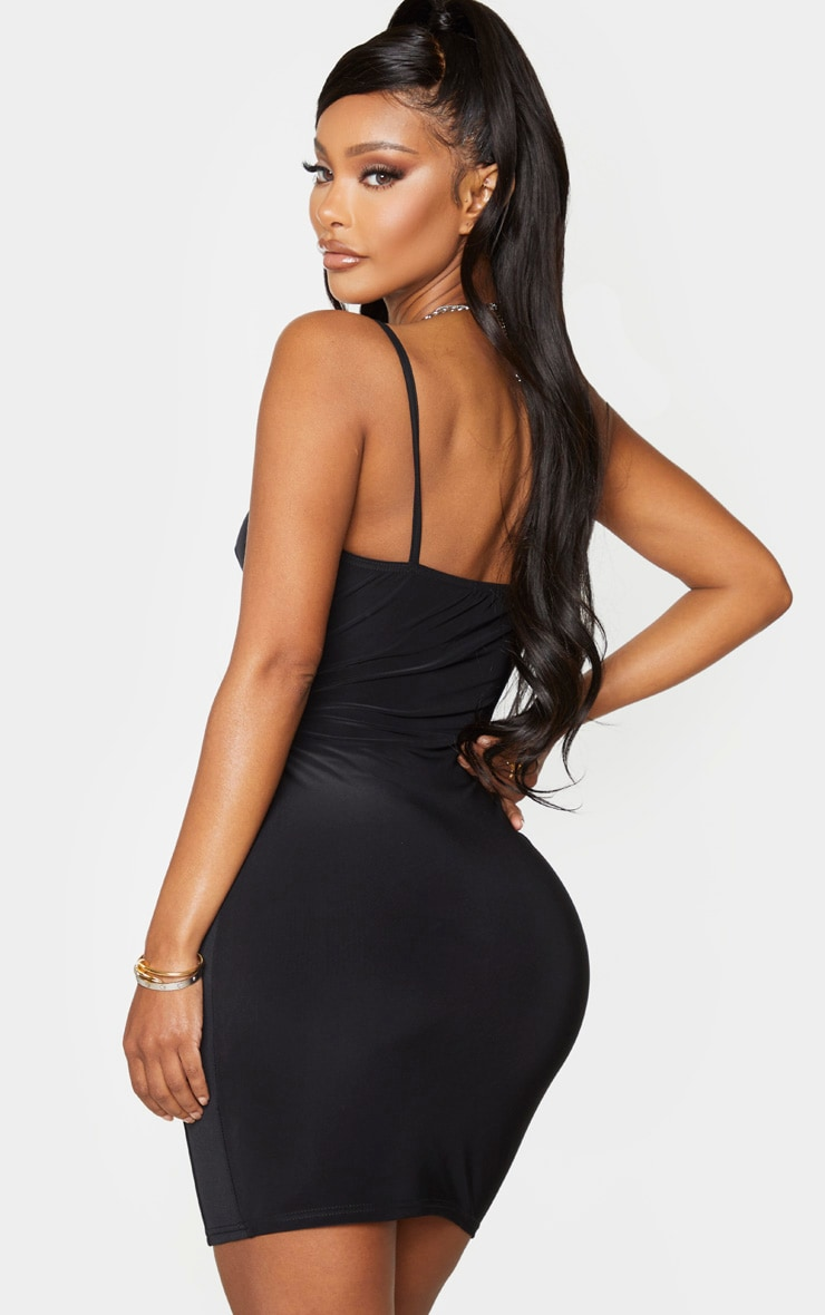 Shape Black Cup Detail Binding Bodycon Dress 2