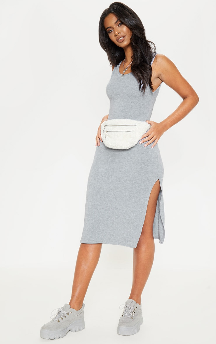 Grey High Neck Drop Arm Hole Midi Dress 4