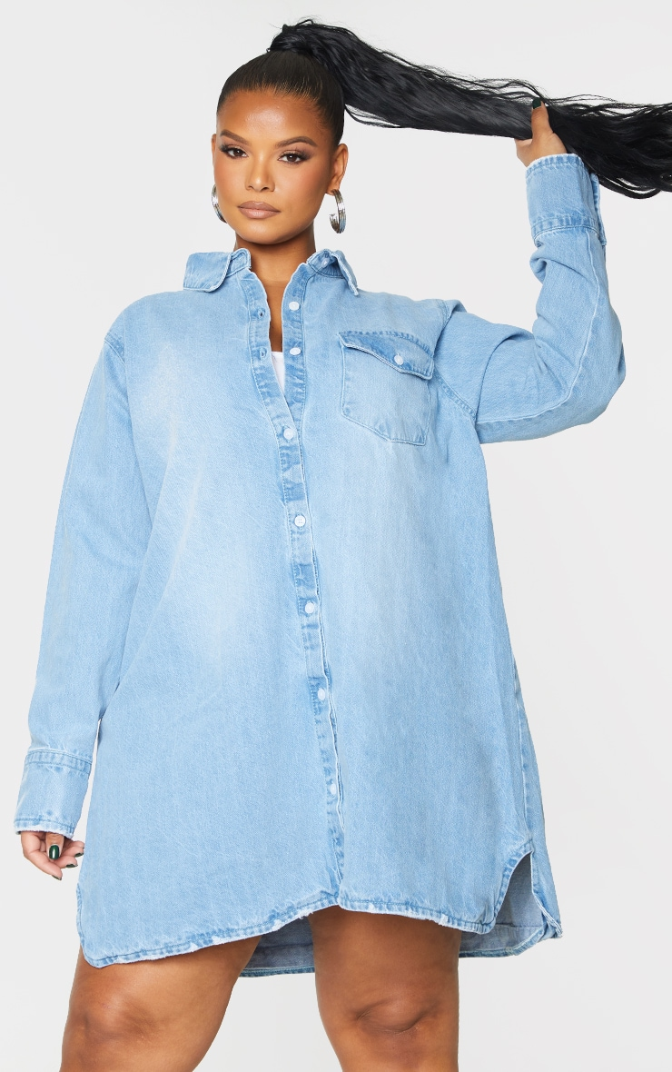 Plus Blue Oversized Denim Shirt Dress 1