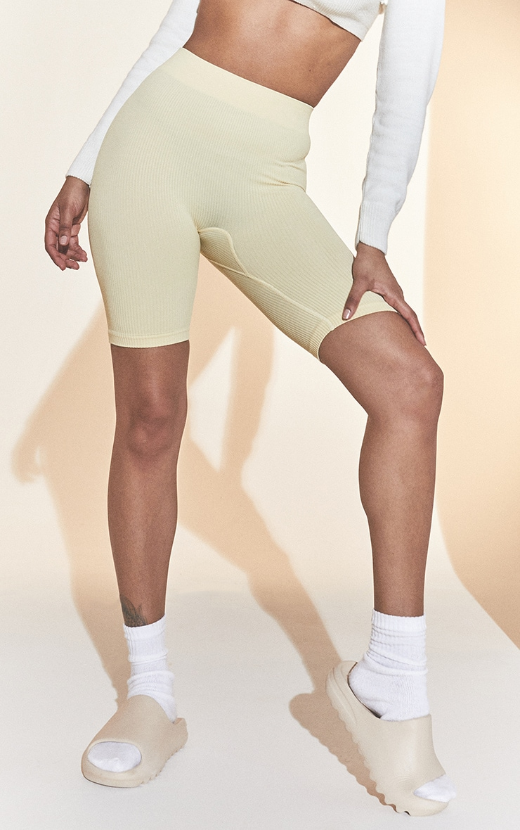 Cream Structured Contour Rib Cycle Shorts 2