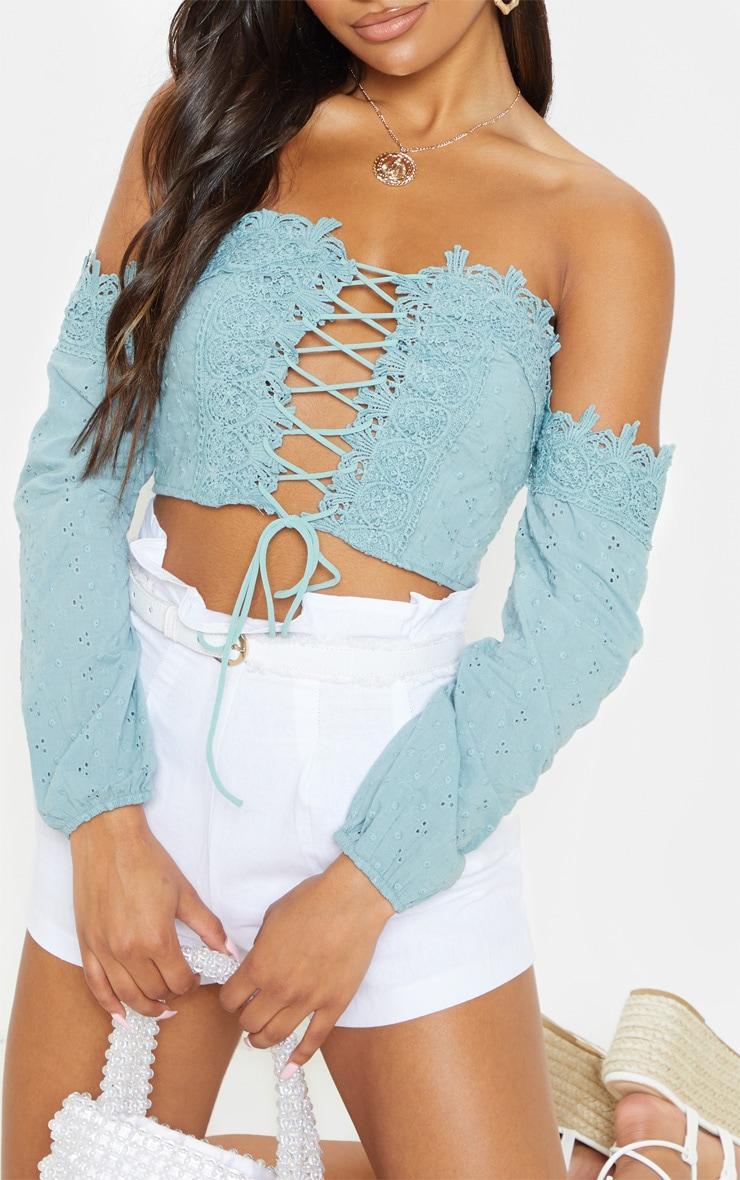 Sage Green Broderie Crochet Lace Up Bardot Crop Top 5