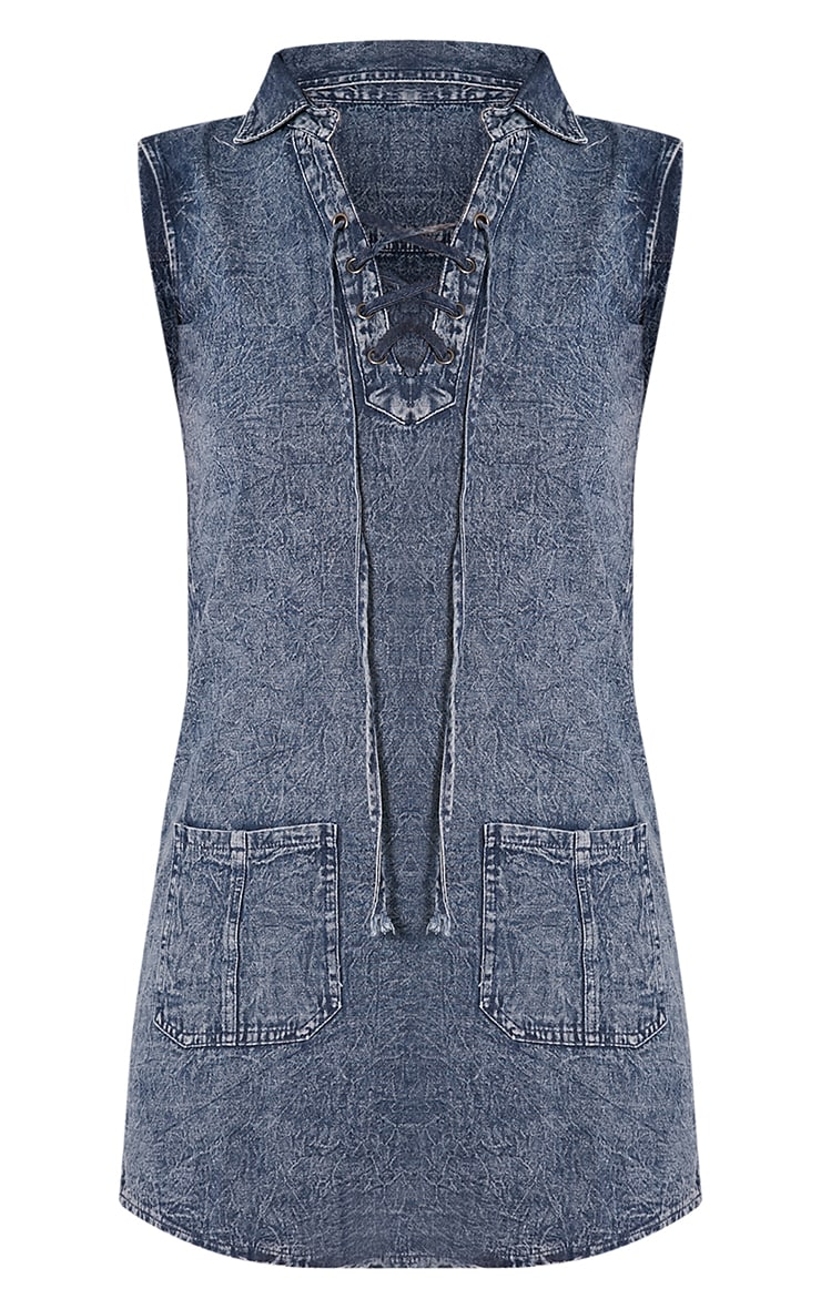 Dawn Acid Wash Lace Up Denim Mini Dress 3