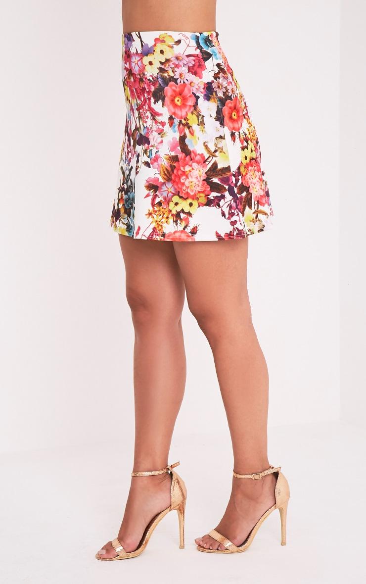 Tamira White Floral A-Line Mini Skirt 4