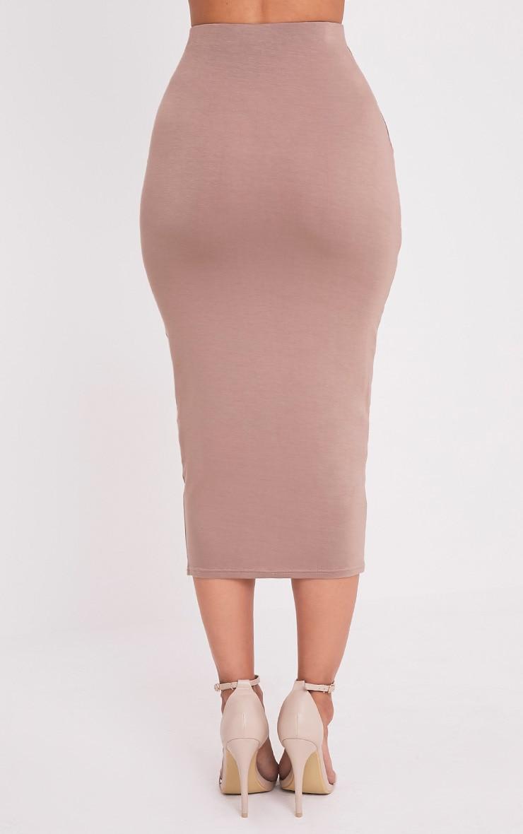 Basic Taupe Long Line Midi Skirt 5