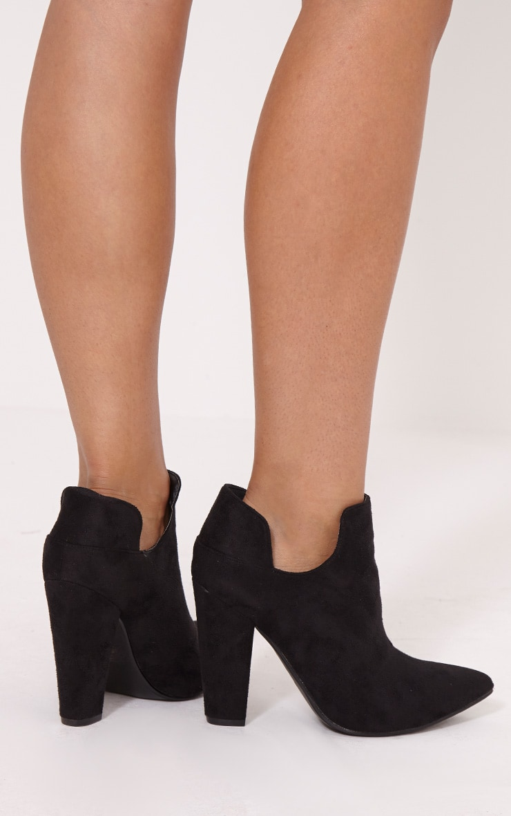 Destry Black Faux Suede Heeled Ankle Boots 2