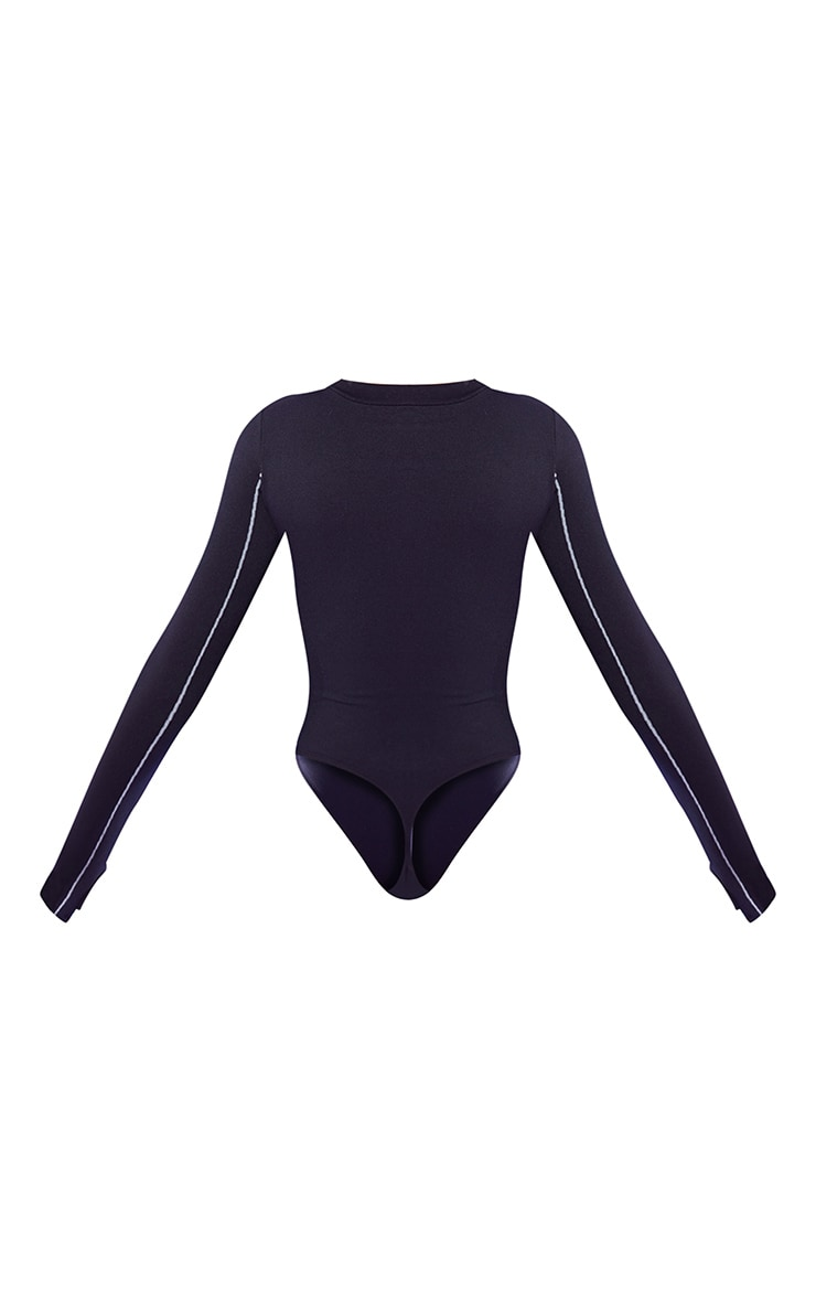 Black Seamless Ski Long Sleeve Bodysuit 7