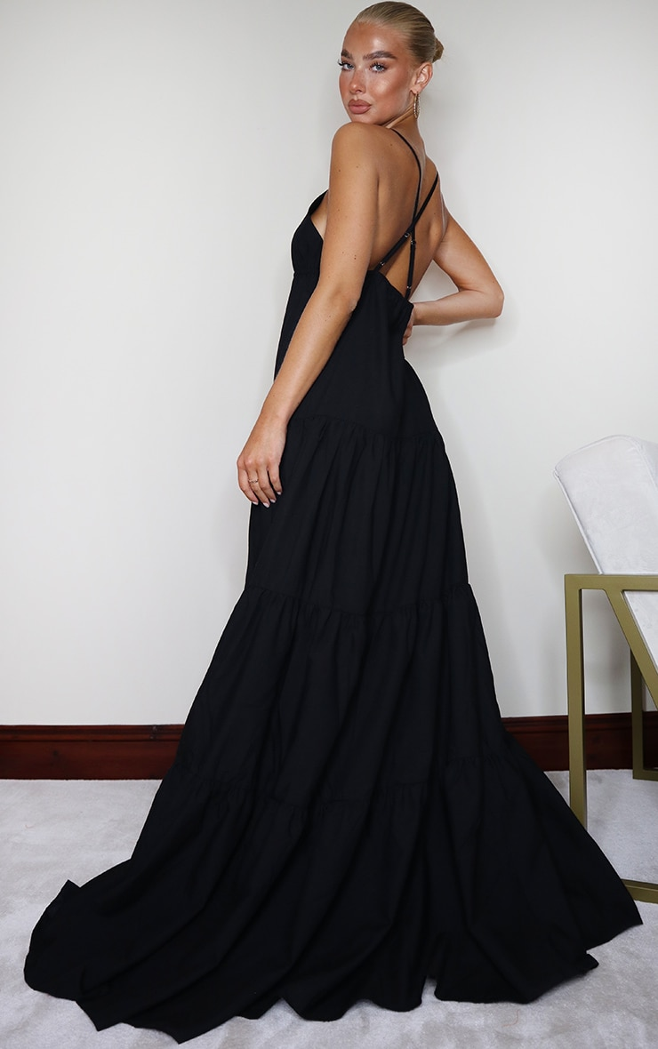 Black Woven Tiered Smock Maxi Dress 2