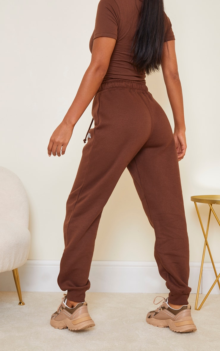 PRETTYLITTLETHING Chocolate Brown High Waisted Joggers 3