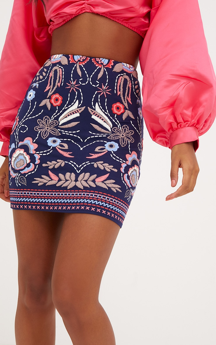 Navy Floral Embroidery Print Mini Skirt 6