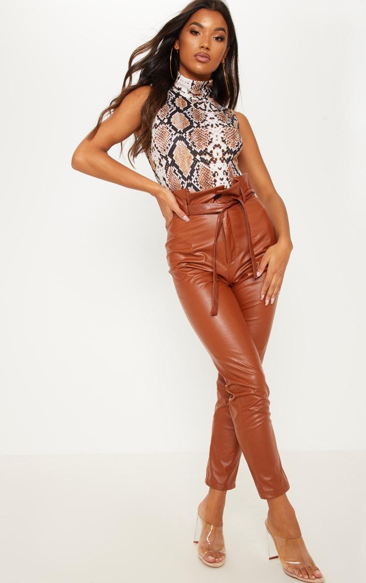 Tan Snake Print Roll Neck Sleeveless Bodysuit 5