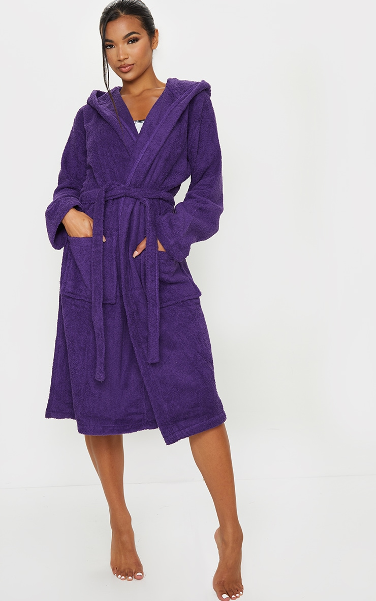 Purple Towelled Hooded Dressing Gown 3