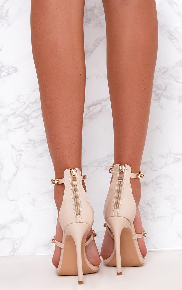 Nude Diamante Three Strap Heels 4
