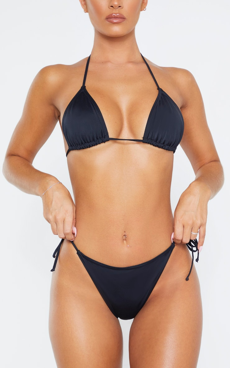 Black Recycled Fabric Mix & Match Tie Side Bikini Bottom 5