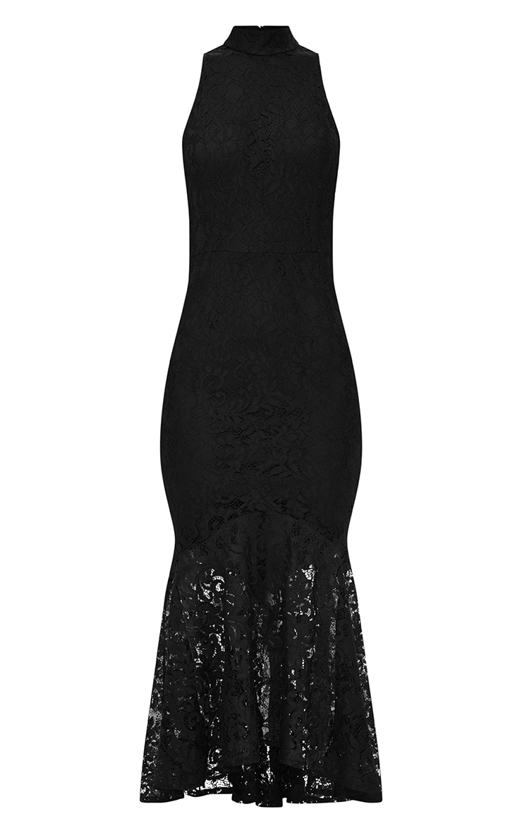 Black Lace High Neck Fishtail Midaxi Dress 3