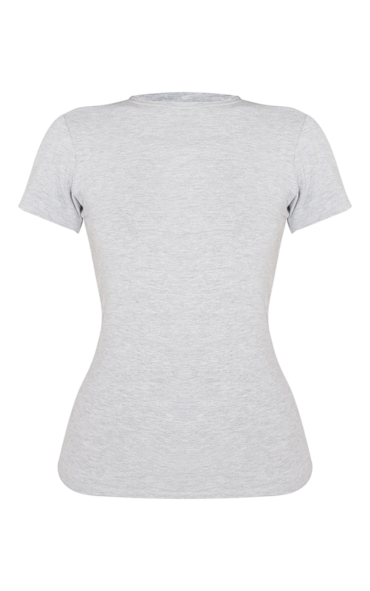 Basic Grey Marl Cotton Blend Fitted Crew Neck T Shirt 5