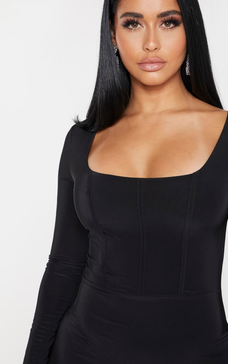 Shape Black Slinky Panelled Long Sleeve Midi Dress 4