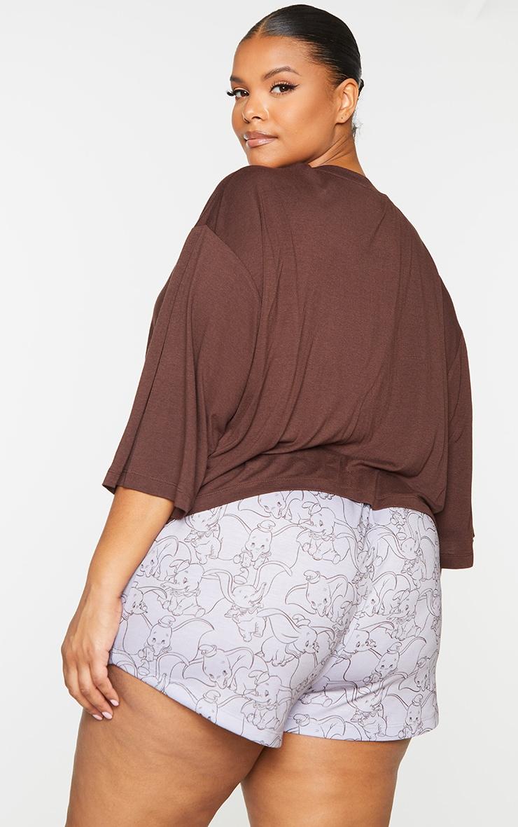 Plus Brown Disney Dumbo T shirt And Shorts PJ Set 2