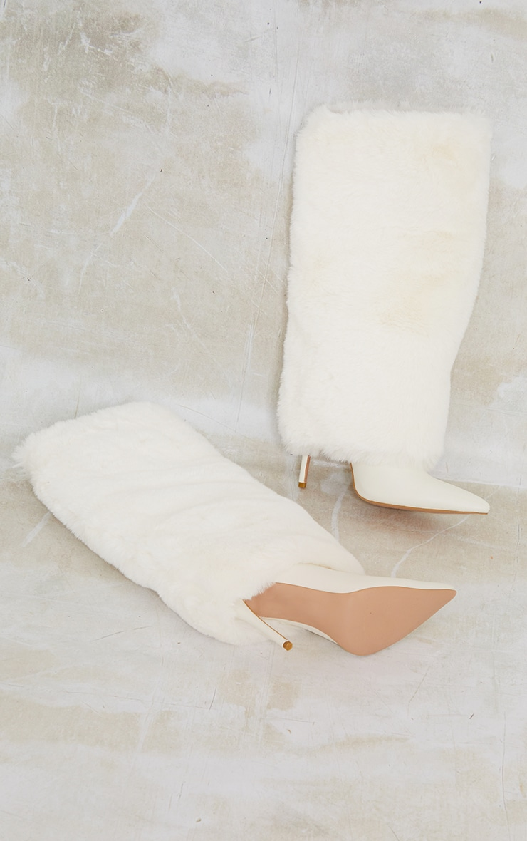 Cream Faux Fur Pointed Knee Boots 3