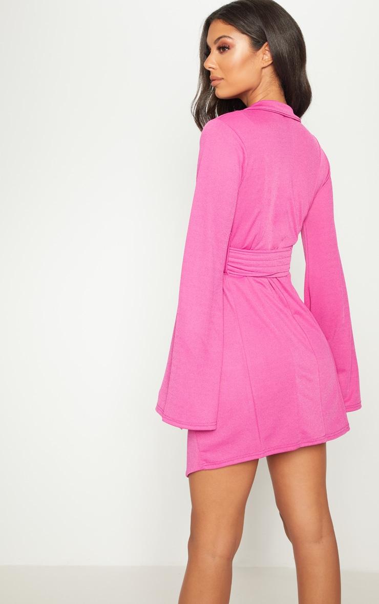 Fuchsia Pleated Belt Blazer Dress 2